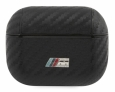 Чехол для AirPods Pro BMW M-collection PU carbon effect with metal logo, цвет черный (BMAPCMPUCA)