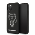 Силиконовый чехол-накладка для iPhone 11 Pro Lagerfeld Liquid silicone Ikonik outlines Hard, цвет черный/black-white (KLHCN58SILFLWBK)