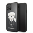 Чехол-накладка для iPhone 11 Pro Lagerfeld Double layer Iconic Karl Hard Glass, цвет черный (KLHCN58DLFKBK)