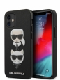 Чехол-накладка для iPhone 12 mini Karl Lagerfeld PU Saffiano Karl and Choupette Hard, цвет черный (KLHCP12SSAKICKCBK)