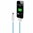 Светящийся кабель USB для iPhone 4/4S и iPad 2/3 Dexim Visible Green Cable цвет blue (DWA063)