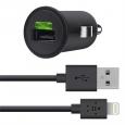 Автомобильное зарядное устройство для iPhone 5, iPad mini, и iPad 4 Belkin Car Charger + Lightning ChargeSync cable 2,1A (F8J090bt04-BLK)