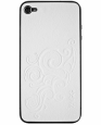 �����-�������� �� ������ ������ ��� iPhone 4 � iPhone 4S Zagg LeatherSkin, ���� white floral (ZGph4WF)