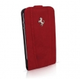 Кожаный чехол для iPhone 4/4S Ferrari Flip, Red (FEFLIP4R)