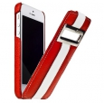 Кожаный чехол для iPhone SE/5S/5 Melkco Jacka ID Type Limited Edition, цвет красный/red-white lc