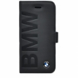 Кожаный чехол для iPhone 5C BMW Logo Signature Booktype цвет black BMFLBKPMLOB