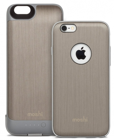 Чехол-аккумулятор для iPhone 6/6S Moshi iGlaze Ion Battery Case 2750 mAh цвет brushed Titanium 99MO079204