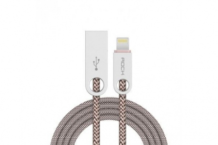 Кабель USB - Lightning Rock Cobblestone Charge & Sync Round Cable 100 см цвет бежевый/light coffee RCB0431 – фото 19819.41