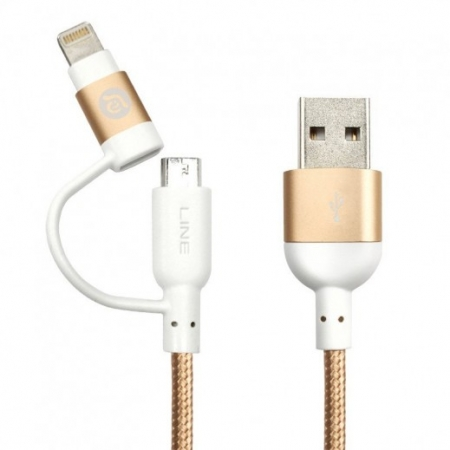 Кабель 2-в-1 microUSB/Lightning - USB Adam Elements PeAk Lightning Cable Duo 120B цвет gold ACBAD120DMBR3GD
