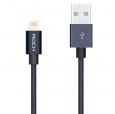 Кабель USB - Lightning Rock Metal Charge & Sync Round Cable 1,8 м, цвет серый/space grey (RCB0432)
