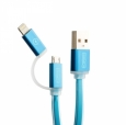 Кабель USB COTEetCI М1 2-в-1 Lightning & microUSB cable Breathe Light 1 м, цвет Голубой (CS2025-BL)