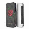 Чехол-книжка для iPhone X/XS Guess Flower desire 4G Booktype PU/roses, цвет серый (GUFLBKPX4GROG)