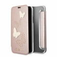 Чехол-книжка для iPhone X/XS Guess Studs&Sparkles Booktype PU Butterflies, цвет розовый/rose gold (GUFLBKPXPBURG)