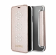 Чехол-книжка для iPhone X/XS Guess Studs&Sparkles Booktype PU Snowflakes, цвет розовый/pink (GUFLBKPXSTUPI)