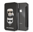 Чехол-книжка для iPhone XS Max Lagerfeld PU Leather Karl and Choupette Booktype, цвет черный (KLFLBKI65KICKC)