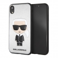 Чехол-накладка для iPhone XR Lagerfeld PU Leather Iconic Karl Hard, цвет серебристый (KLHCI61IKPUSI)