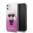 Чехол-накладка для iPhone 11 Lagerfeld TPU/PC collection Karl Iconik Hard Gradient, цвет розовый (KLHCN61TRDFKPI)