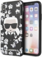 Чехол-накладка для iPhone X/XS Lagerfeld TPU Collection Flower Hard, цвет черный (KLHCPXFLFBBK)