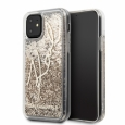 Чехол-накладка для iPhone 11 Lagerfeld Liquid glitter Karl signature Hard, цвет золотистый/gold (KLHCN61TRKSGO)