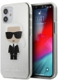 Чехол-накладка для iPhone 12 mini Karl Lagerfeld PC/TPU Ikonik Karl Hard Glitter, цвет серебристый (KLHCP12SPCUTRIKSL)