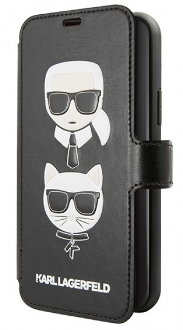 Чехол-книжка для iPhone 11 Lagerfeld PU Leather Karl and Choupette Booktype