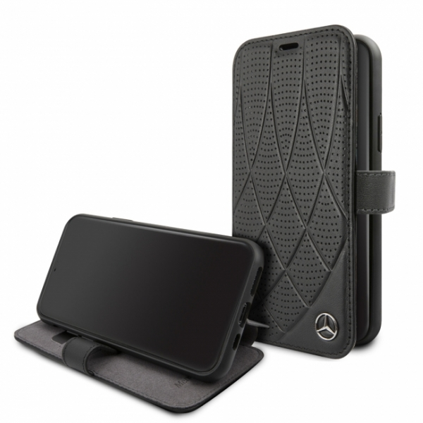 Кожаный чехол-книжка для iPhone 11 Pro Mercedes Bow Quilted/perforated Booktype Leather